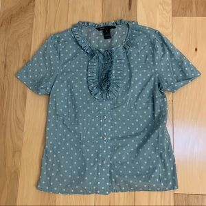 Marc Jacobs Blue Button Down Ruffle Top